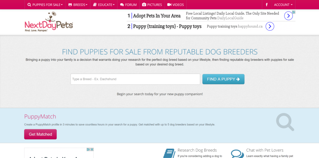 Where to advertise puppies?  Next day pets offers one month or monthly subscriptions for breeders to list their puppies.