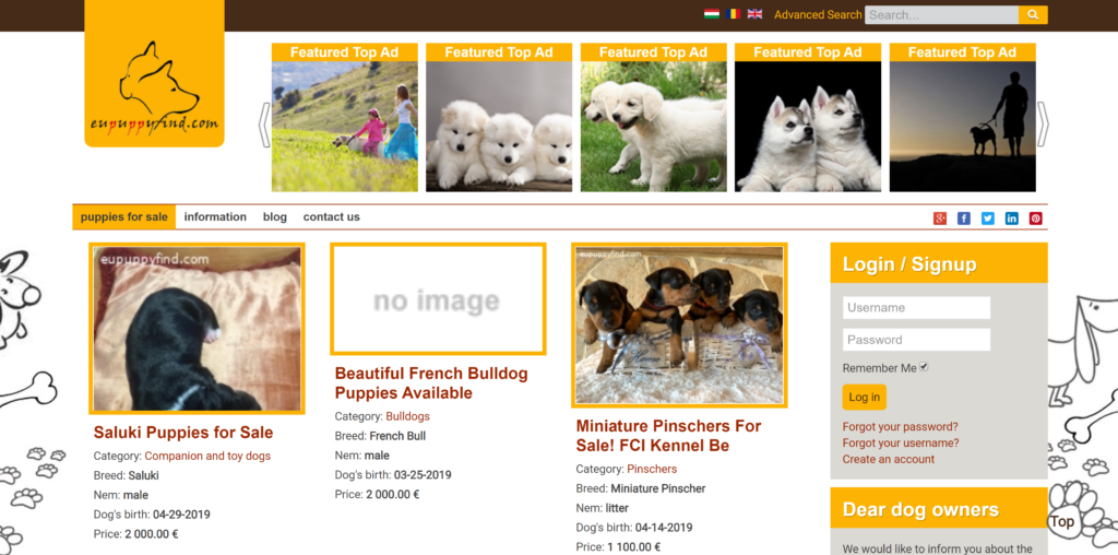 Where to advertise puppies?  EUpuppyfind is a new site but quickly gaining popularity in puppy sale sites.