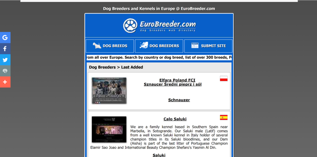 Where to advertise puppies? Eurobreeder is a basic site but is an extensive list for breeders to join.