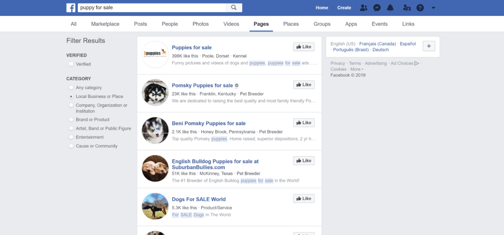 Where to advertise puppies? Facebook is filled with tens of thousands of breed and puppy sales sites. Connect with puppy buyers on the social media network.